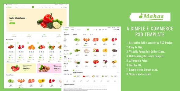 Mahas - A Simple E-commerce Psd Template - Shopping Retail