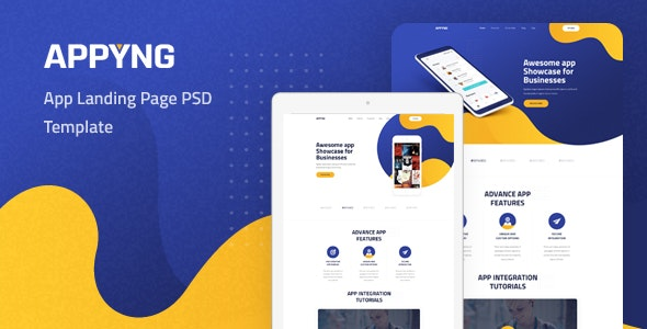 Appyng - App Landing Page PSD Template - Technology Photoshop