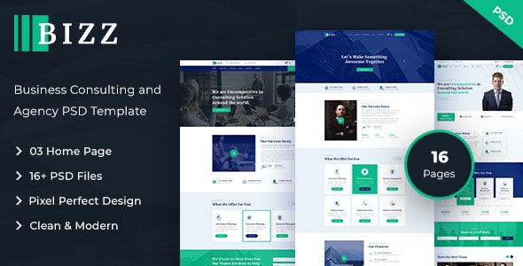 Bizz - Business Consulting and Agency PSD Template - Business Corporate
