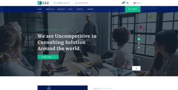 Bizz - Business Consulting and Agency PSD Template