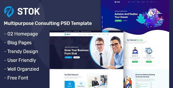 Stok - Multipurpose Consulting PSD Template - Business Corporate