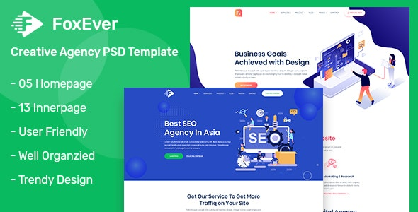 FoxEver - Creative Agency PSD Template - Business Corporate