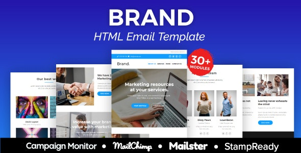 Brand Agency Responsive Email Template 30+ Modules - StampReady + Mailster & Mailchimp Editor - Newsletters Email Templates