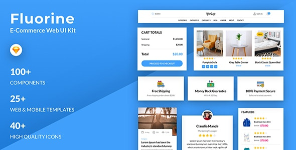 Fluorine | eCommerce Responsive UI Kit for Sketch - Sketch UI Templates