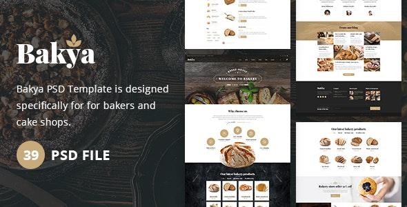 Bakya - Cake and Bakery Food Store Psd Template Theme - Food Retail