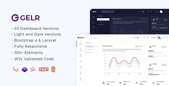 Gelr - Bootstrap 4 + Laravel Starter Kit Admin Dashboard Template - Admin Templates Site Templates