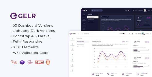 Gelr - Bootstrap 4 + Laravel Starter Kit Admin Dashboard Template
