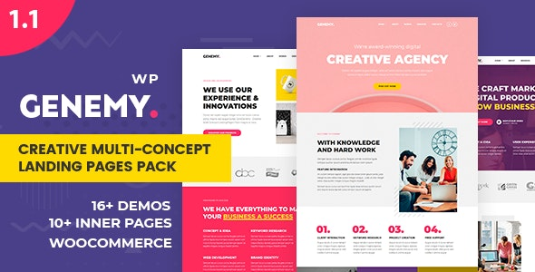 Genemy - Creative Multi Concept Landing Pages Pack With Page Builder - Marketing Corporate