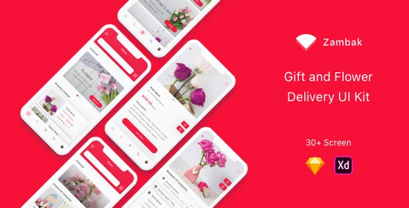Zambak - Gift and Flower Delivery App UI Kit - Sketch Templates