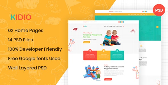 Kidio - Indoor PlayGround Business PSD Template - Children Retail