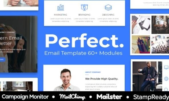 Perfect - Agency Responsive Email Template 30+ Modules - StampReady + Mailster & Mailchimp Editor - Newsletters Email Templates