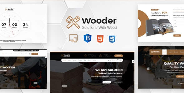 Wooder - Renovation Services, Carpenter & Craftsman Business HTML Template + RTL - Business Corporate