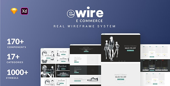 Ewire for Commerce -  Wireframe Library Collection - Sketch UI Templates