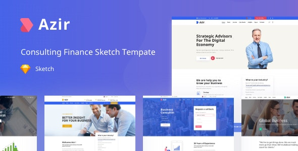 Azir | Consulting Finance Sketch App Tempate - Sketch Templates