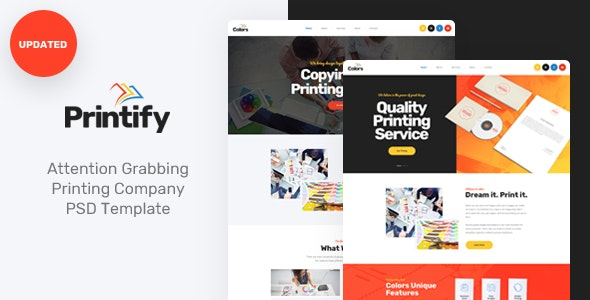 Printify - Attention Grabbing Printing Company PSD Template - Business Corporate