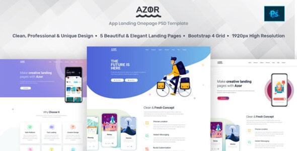Azor - App Landing PSD Template - Technology PSD Templates
