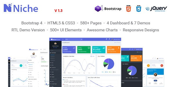 Niche - Powerful Bootstrap 4 Dashboard and Admin Template by