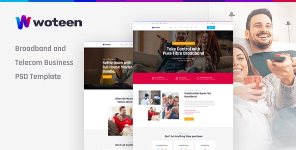 Woteen - Broadband and Telecom Business PSD Template - Business Corporate
