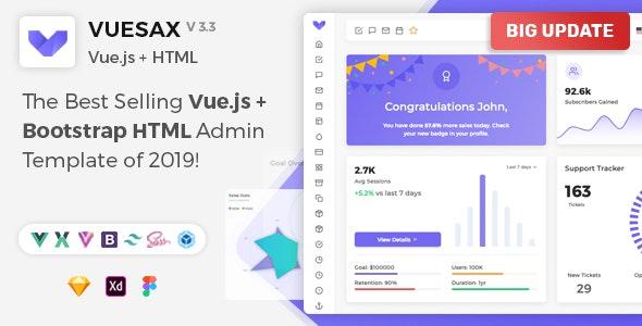 Vuesax - Vuejs + HTML Admin Dashboard Template by PIXINVENT