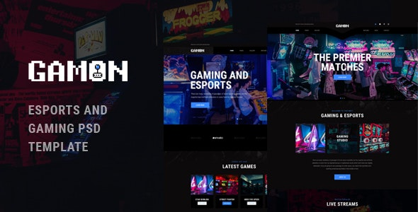 Gamon - eSports and Gaming PSD Template - Entertainment Photoshop