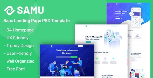 Samu - Saas & Software Landing Page PSD Template - Software Technology