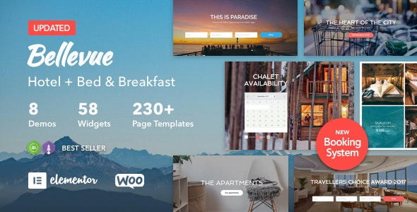 Hotel + Bed and Breakfast Booking Calendar Theme | Bellevue by