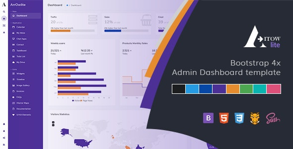 Arrowlite - Bootstrap 4x Admin Template and uikit - Admin Templates Site Templates