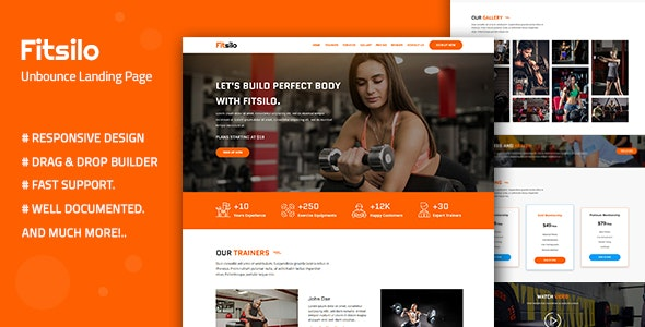 Fitsilo — Health & Fitness Unbounce Landing Page Template - Unbounce Landing Pages Marketing