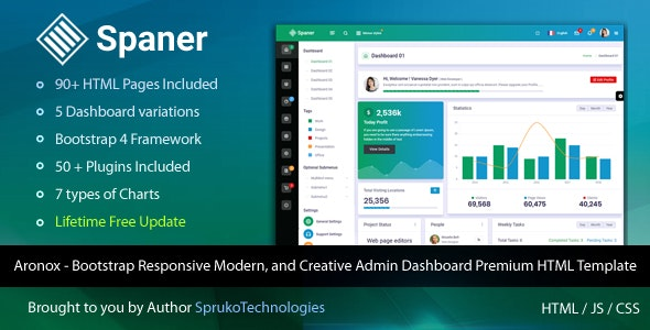 Spaner - Bootstrap Admin Panel Dashboard Design Responsive