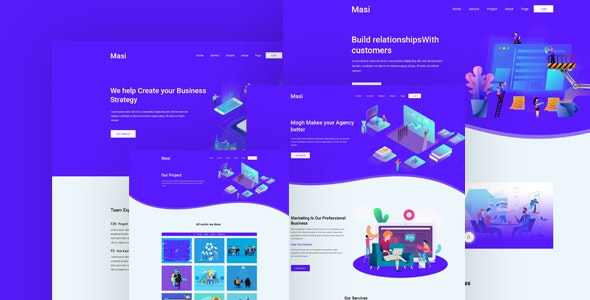 Masi – Business & Agency PSD Template - Photoshop UI Templates