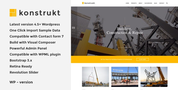 Konstrukt - Construction & Building WordPress Theme - Business Corporate