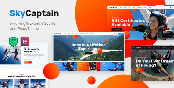 SkyCaptain | Skydiving & Extreme Flying Sports WordPress Theme nulled theme download
