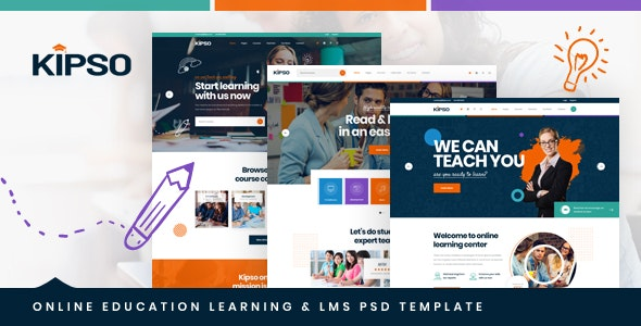 Kipso - Online Education Learning & LMS PSD Template - Corporate Photoshop