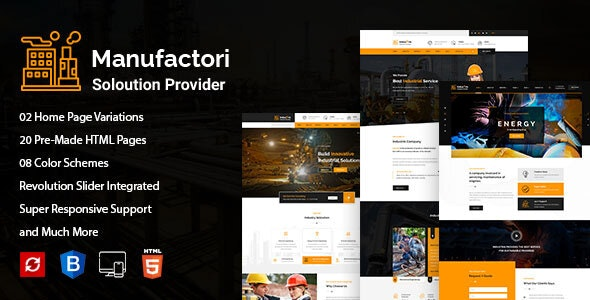 Manufactori: Factory and Industrial Business HTML5 Template - Corporate Site Templates