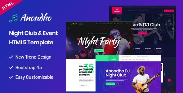 Anondho Night Club Event Html5 Template By Bdevs