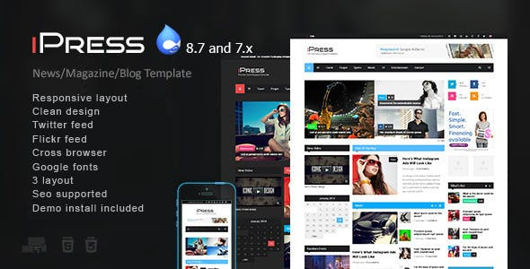 iPress - Responsive News/Magazine Drupal 8 and 7 theme