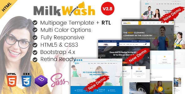 MilkWash - Cleaning Service Company HTML Templates
