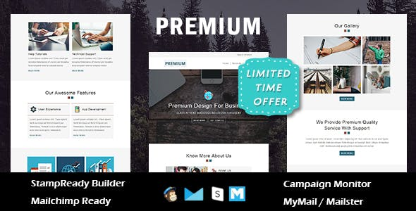 Premium - Multipurpose Responsive Email Template - Online StampReady Builder & Mailchimp Editor