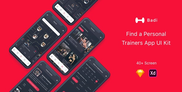 Badi - Find a Personal Trainers App UI Kit - Sketch Templates