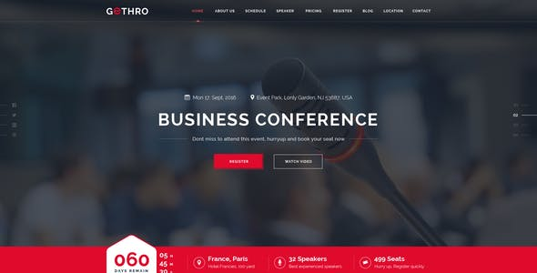 GETHRO - Conference and Event PSD Template