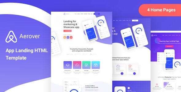Aerover - App Landing HTML Template nulled theme download