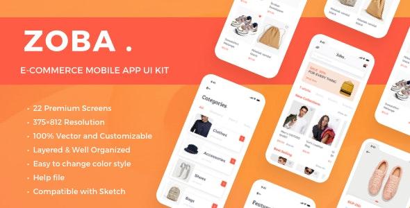 Zoba - E-Commerce Mobile App UI Kit - Sketch Templates