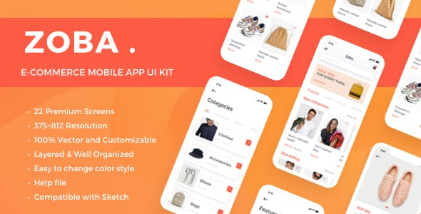 Zoba - E-Commerce Mobile App UI Kit nulled theme download