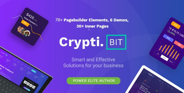 CryptiBIT - Technology, Cryptocurrency, ICO/IEO Landing Page WordPress theme - Business Corporate