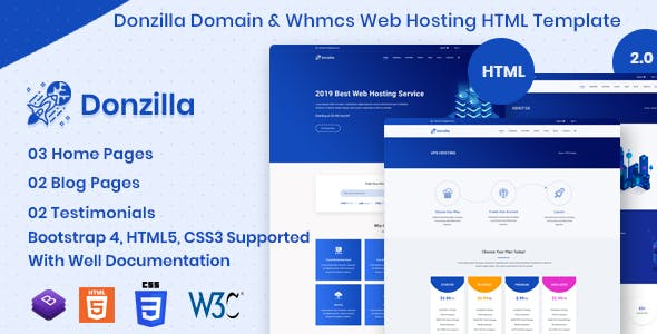 Donzilla - Domain and WHMCS Hosting HTML Template nulled theme download