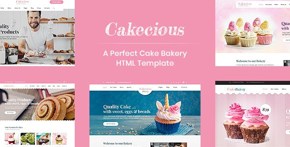 Cakecious - Bakery and Pastry Shop HTML Template - Restaurants & Cafes Entertainment