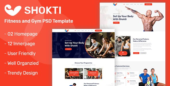 Shokti - Fitness and Gym PSD Template nulled theme download