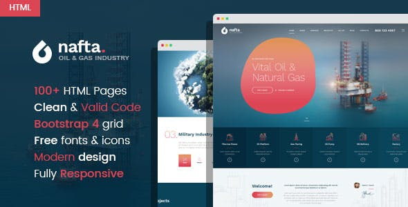 Nafta - Oil & Gas Industry HTML Template nulled theme download