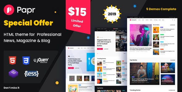 Papr |  News Website Template nulled theme download