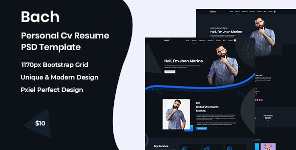 Bach- Personal Cv Resume PSD Template nulled theme download